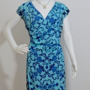 Blue Bodycon Stretchy Silk Lined Casual Dress